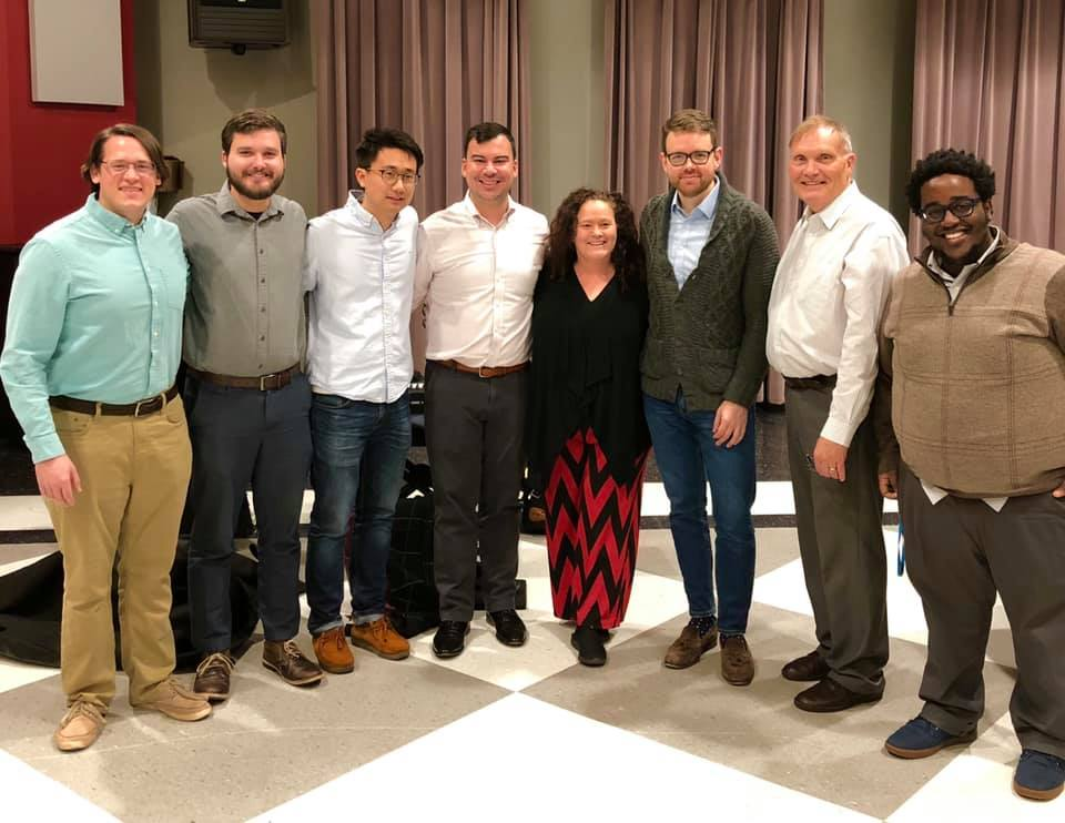The Bulldog Brass Society, Spring 2019, with Huw Morgan, Phil Smith, and Rebecca Wilt